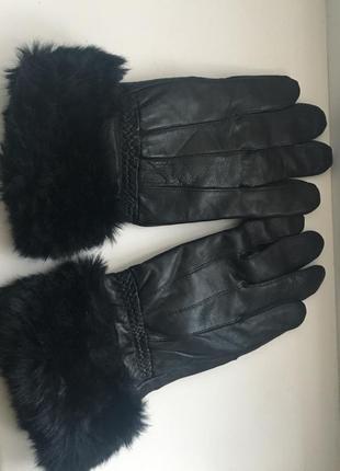 Теплые кожаные перчатки натуральная кожа, на утеплителе с мехом,