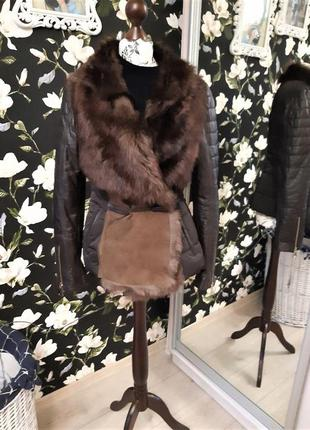 📣шикарная курточка📣 куртка, меховая📣 полушубка, кожаные рукава📣