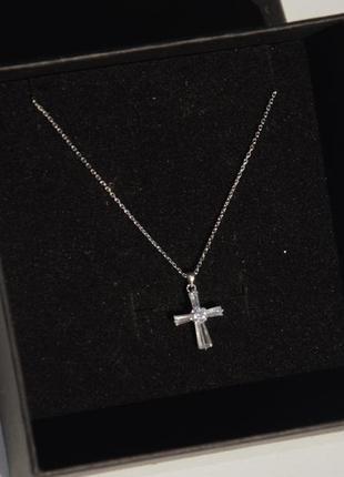 🌸 подвеска с крестом 925 пробы серебряная цепочка серебро
