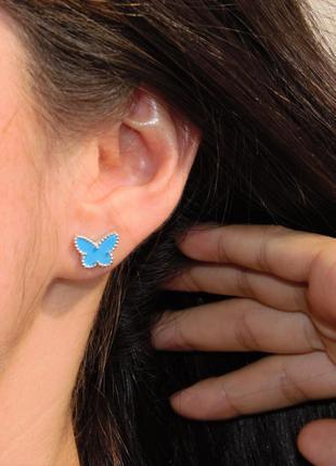⭐сережки van cleef гвоздики бабочки серебро 925 серьги ван кли...