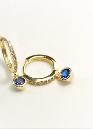 Серьги колечки -серьги кольца - серьги с синим камнем