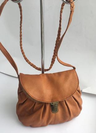 Мыла кожаная рыжая сумка, натуральная кожа, кросс боди,