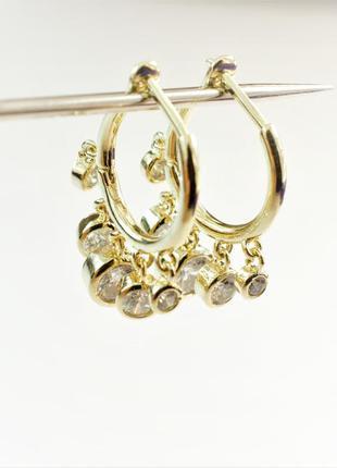 Золотистые сережки бижутерия серьги кольца позолоченные