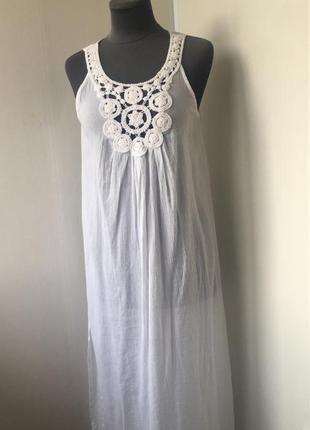 Белое пляжное платье туника на купальник шорты лосины, хлопок,...