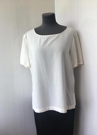 Белая шелковая футболка блузка, натуральный шелк windsmoor