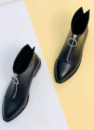 Женские демисезоные натуральные кожанные ботинки ботильоны