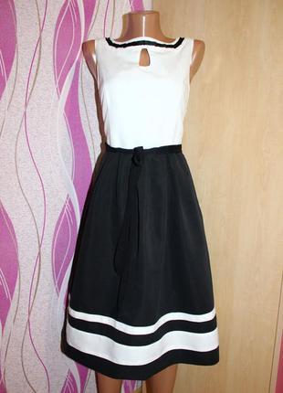 Платье комби: белый топ и черная юбка с белыми полосками, 36