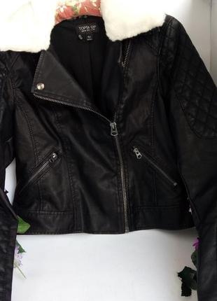 Эффектная модная курточка куртка косуха с мехом, плотная эко кожа