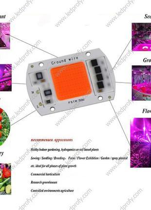 Фитолампа- светодиодная матрица, led grow, 30W, 50W для расстений