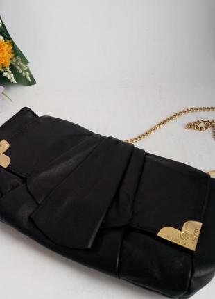 Нарядная кожаная сумка клатч, натуральная кожа, на цепочке,