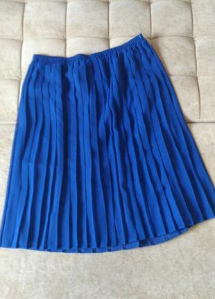 Плиссированная юбка, цвет синий электрик, р.xxl