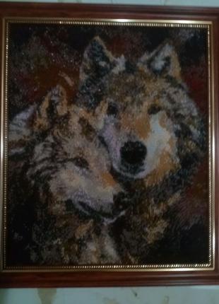 Картина биссером Волки