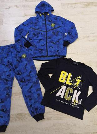 Спортивный костюм-тройка для мальчика камуфляж синий10, 12 размер