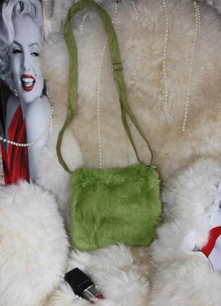 Интересная яркая сумка кросс боди, натуральный мех кролик, чер...