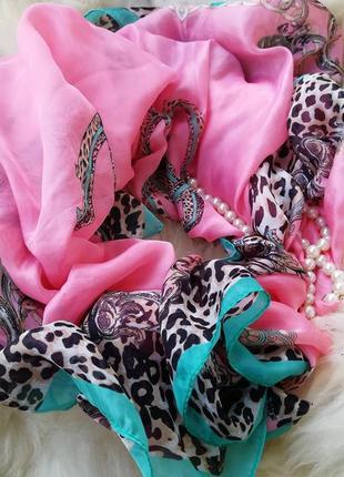 Нереально красивый шелковый шарф платок натуральный шелк