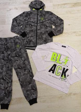 Спортивный костюм-тройка для мальчика камуфляж серый 14 размер