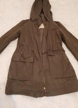 Зеленый дождевик-пальто с подкладкой