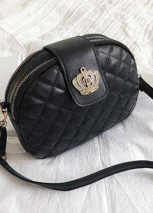 Женская стильная чёрная небольшая мини сумка клатч кошелек