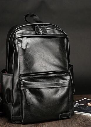 Мужской кожаный стильный недорогой модный чёрный рюкзак для но...