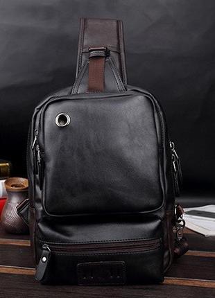 Мужская кожаная сумка рюкзак через плечо новинка 2020