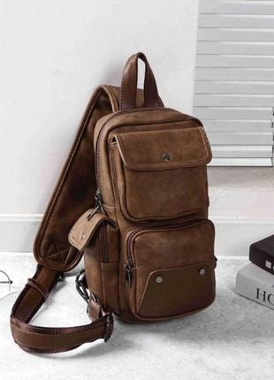Мужская кожаная коричневая сумка рюкзак через плечо