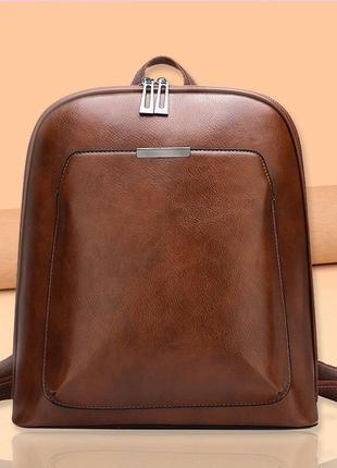 Женский стильный небольшой коричневый рюкзак портфель сумка