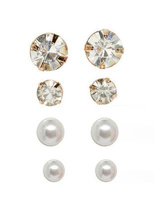 🦊💛 набор: 4 пары миниатюрных серьг-гвоздиков с кристаллами и ж...