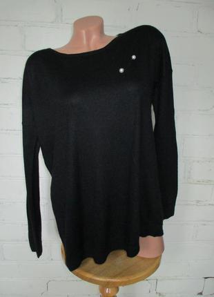 Джемпер/свитер свободного кроя черный базовый шелково-кашемиро...
