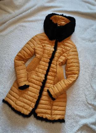 Пальто пуховик куртка наполнитель синтепон размер 36