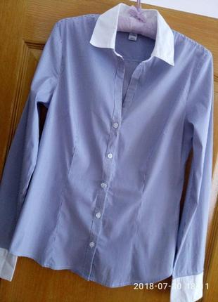 Крутая рубашка в полоску с белыми манжетами и воротником раз. м