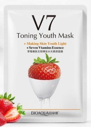 Тканевая витаминная маска для лица Bioaqua v7 toning youth mask с