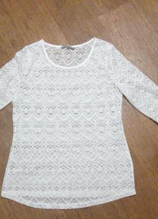 Блузка кружевная, гипюровая, белая