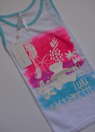 Яскрава біла майка-футболка lulu castagnette (франція) 10 років