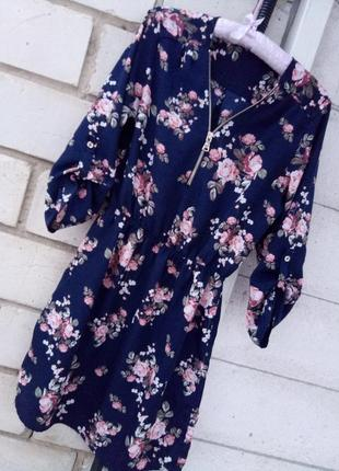 Шикарное платье в цветочный принт раз.s- м