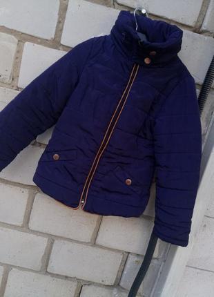 Крутая куртка весеняя утепленая на подкладе рост 128-134см