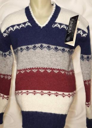 Тёплый свитер крупной вязки шерсть