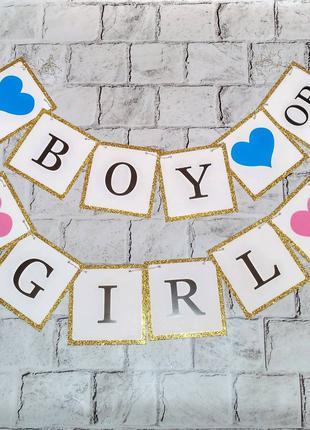 Гирлянда-растяжка флажки Boy or girl, Baby Shower