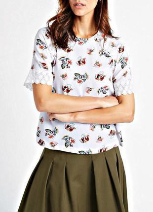 Свободная цветочная блуза из фактурной ткани с кружевом, батал...