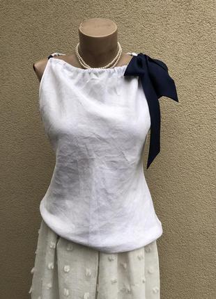 Белая лён блуза с шелковым бантом,майка,