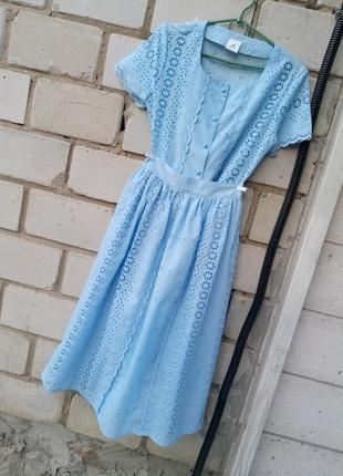Нежный костюм с преферацией блуза +юбка миди раз. xs-s