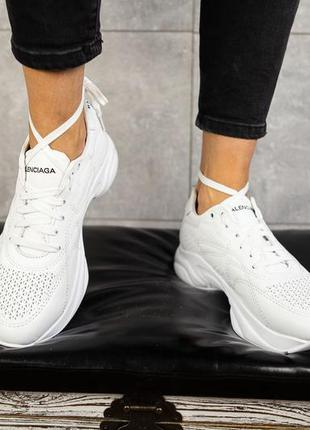 Новые женские кожаные белые кроссовки balenciaga