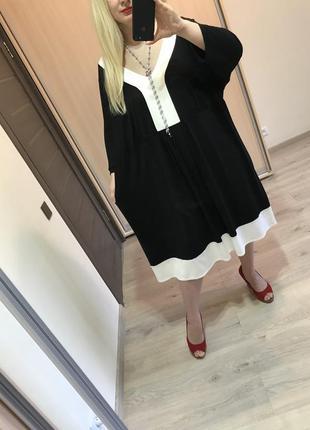 Стильное прямое натуральное платье батал р.28/30