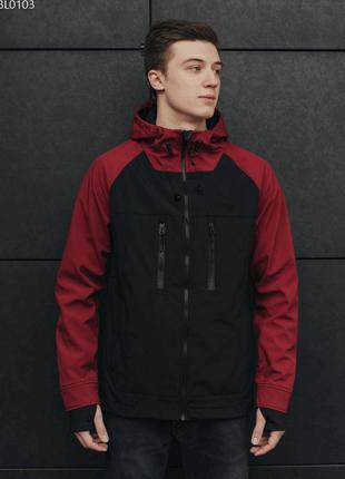Куртка staff soft shell black & red