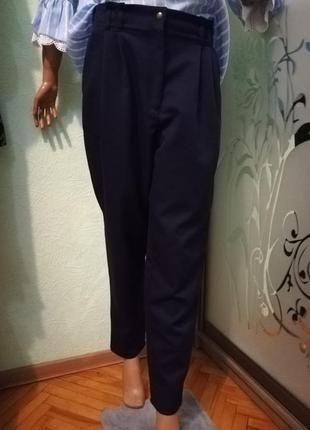 Темносиние брюки с высокой посадкой