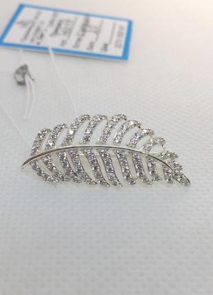 Новая серебряная брошь булавка перышко серебро 925 пробы