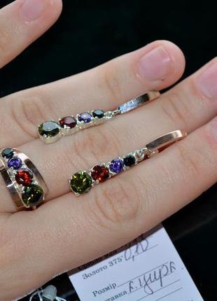 Наюор серебро кольцо и серьги с цветами камнями
