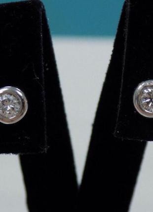 Серьги из белого золота 585 пробы с бриллиантами (пуссеты, гво...