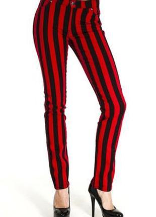 Полосатые джинсы в полоску скинни красные jilted generation