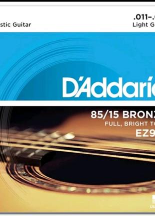 Струны для акустической гитары D`ADDARIO EZ910 BRONZE LIGHT 11-52