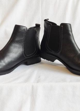 Ботинки женские челси полусапожки кожаные черные tu